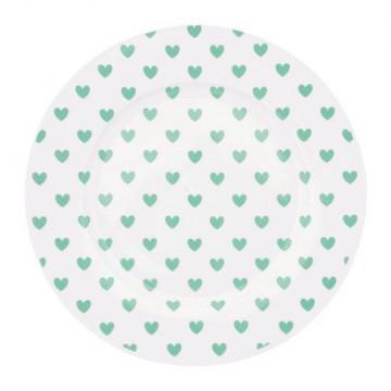 Plato de cerámica 17 cm Corazones Verde menta Miss Etoile