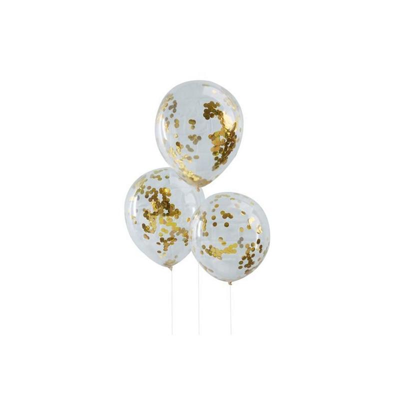 Pack de 5 Globos con confetti Oro