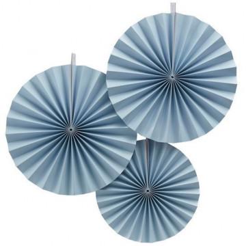 Pack de 3 Abanicos Azul Pastel