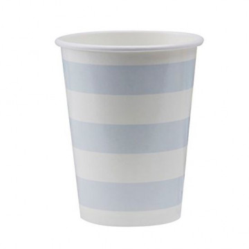 Vasos de fiesta Rayas Azul Pastel