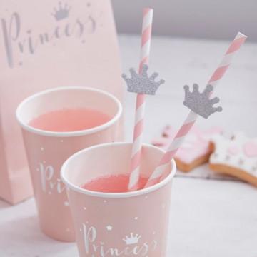Pajitas de papel Rayas Rosa y Corona Plata