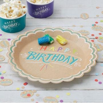 Platos fiesta kraft y colores Happy Birthday