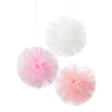 Pack de 3 Pompones de Tul Rosa y Blanco