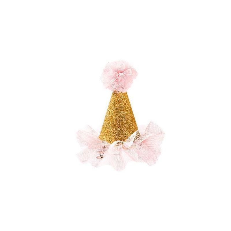 Gorrito de fiesta con clip Rosa Purpurina [CLONE]