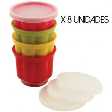 Pack de 8 moldes para flanes gelatinas con tapa Tala