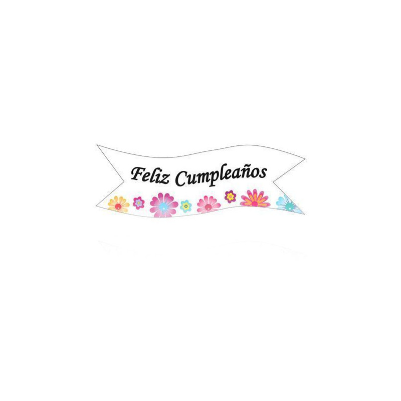 Oblea Feliz Cumpleaños Flores Colores