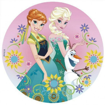 Papel de azúcar 20 cm Anna y Elsa Flores Frozen