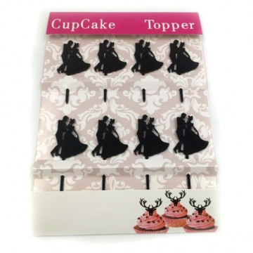 Pack de 8 Toppers acrílicos negro Happy Birthday