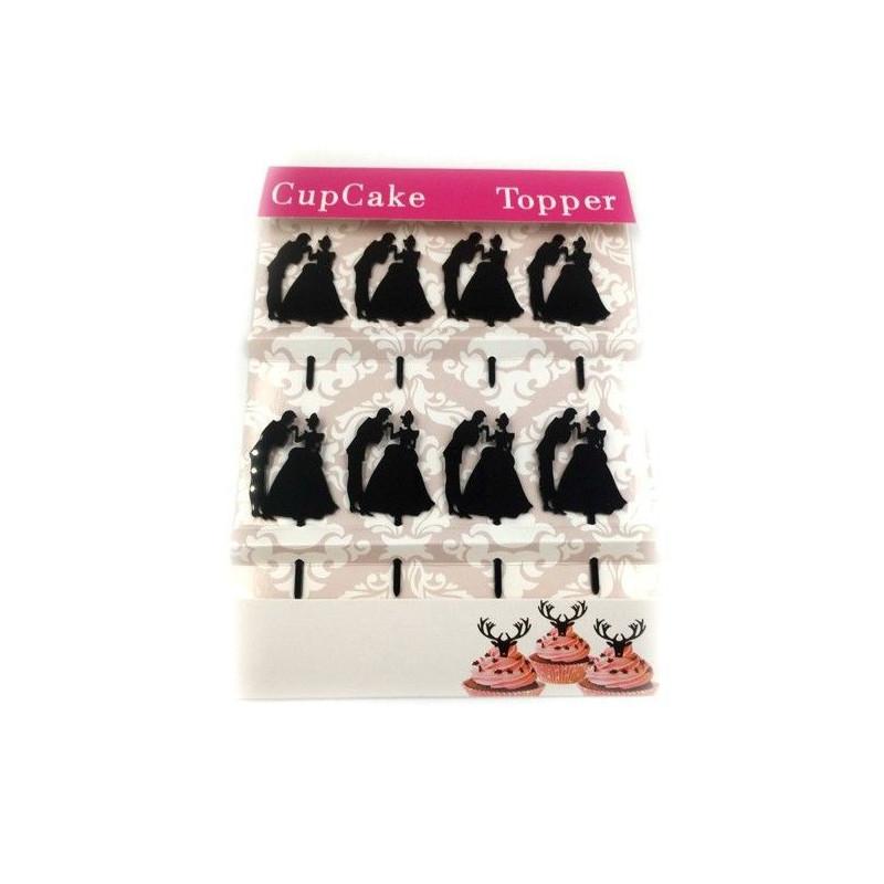 Pack de 8 Toppers acrílicos negro Pareja de Novios 1