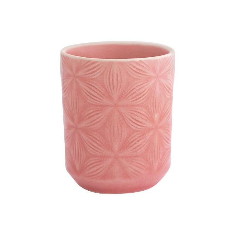 Vaso de cerámica labrado Kallia Pale Pink Green Gate