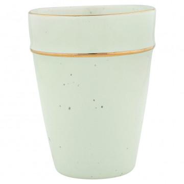 Vaso de cerámica Verde Pastel con borde oro Green Gate