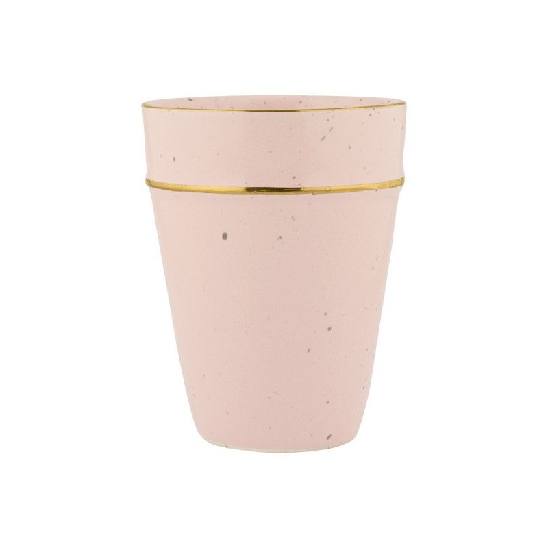 Vaso de cerámica Rosa Pastel con borde oro Green Gate
