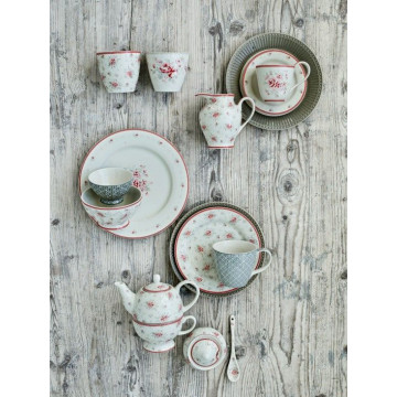 Plato de cerámica de 25 cm Flora White Green Gate