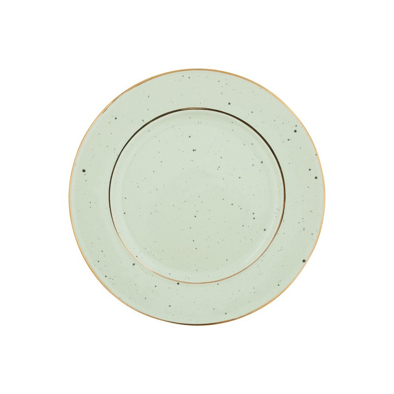 Plato de cerámica de 20 cm Pale Green Gold Rim Green Gate