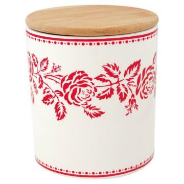 Bote de cerámica con tapa de madera Fleur Red Green Gate