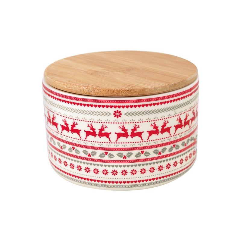 Bote de cerámica con tapa de madera Ivy White Green Gate
