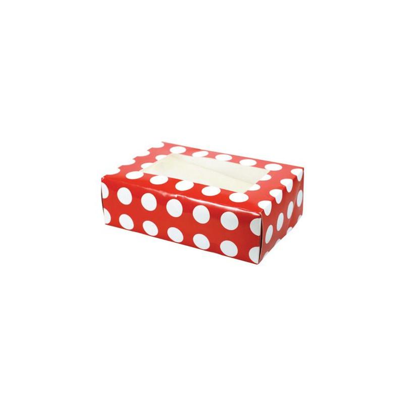 Caja 6 cupcakes Lunares Rojos