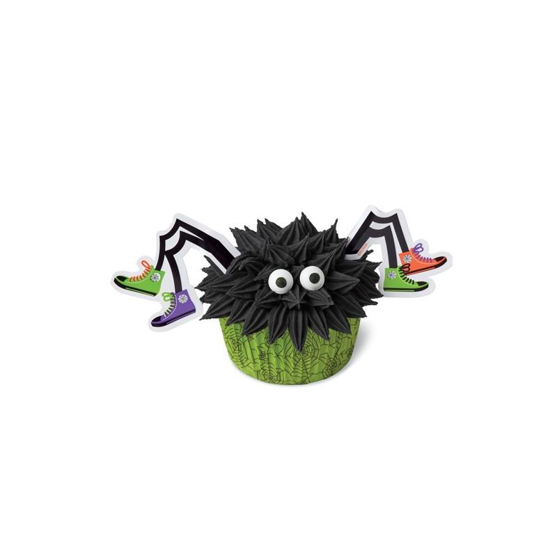 Set para cupcakes: Araña con Tenis Halloween Wilton