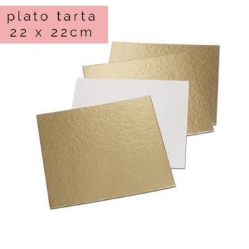 Plato cuadrado para tarta Oro 22 x 22 cm