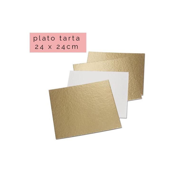 Plato cuadrado para tarta Oro 24 x 24 cm
