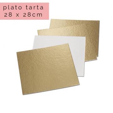 Plato cuadrado para tarta Oro 28 x 28 cm