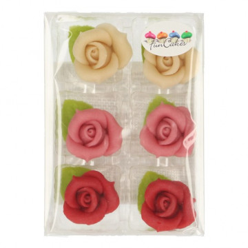 Set de 6 rosas de mazapán de tres colores Funcakes