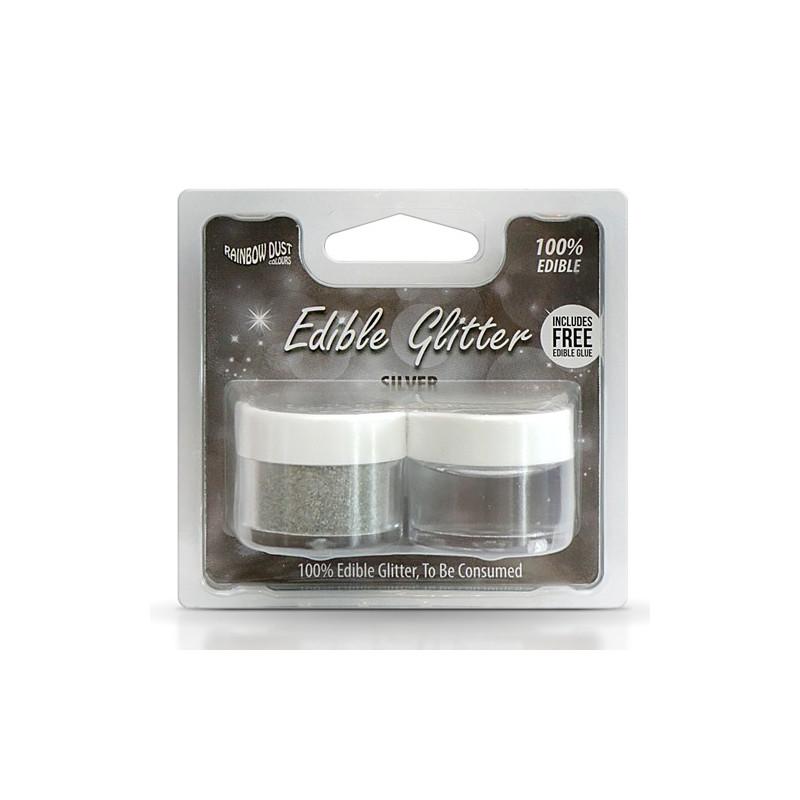 Purpurina + Pegamento comestible Plata Silver Rainbow Dust