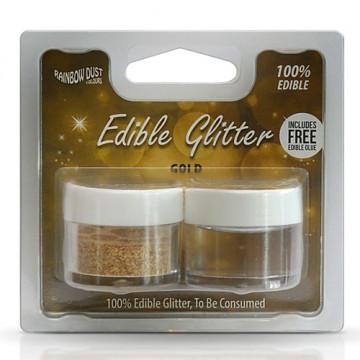 Purpurina + Pegamento comestible Oro Gold Rainbow Dust