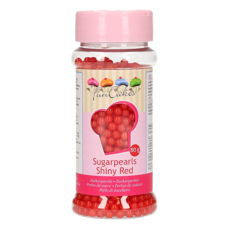 Funcakes Sugar Pearls Shiny Red