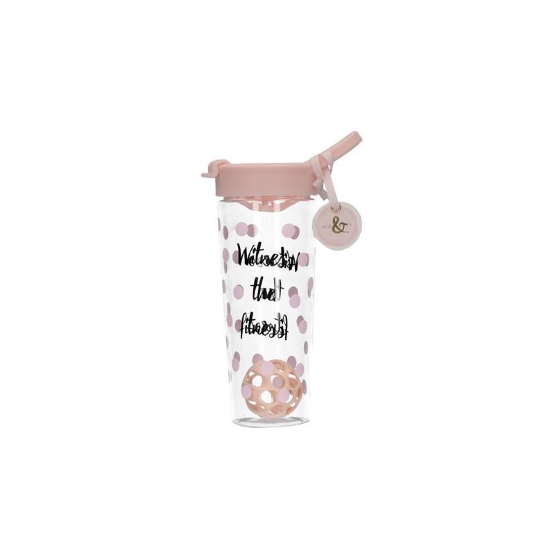 Botella de agua lunares rosa y letras Ava & I