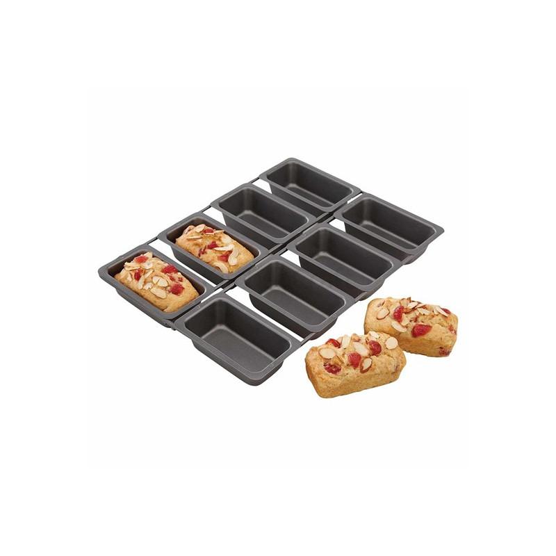 Molde de 8 cavidades Mini Loaf Pan Metallic Kitchen Craft