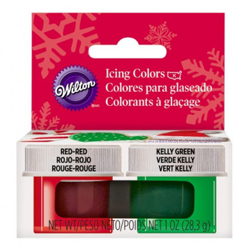 Pack de 2 colorantes en gel: Rojo y Verde Wilton