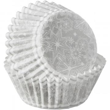 Cápsulas mini cupcakes Copos de Nieve Plata Navidad Wilton