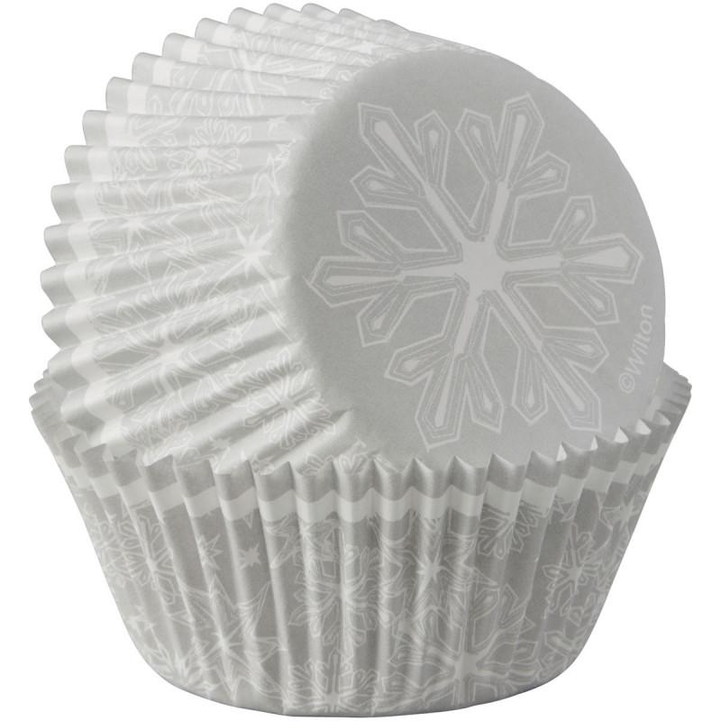 Cápsulas cupcakes Copos de Nieve Plata Navidad Wilton