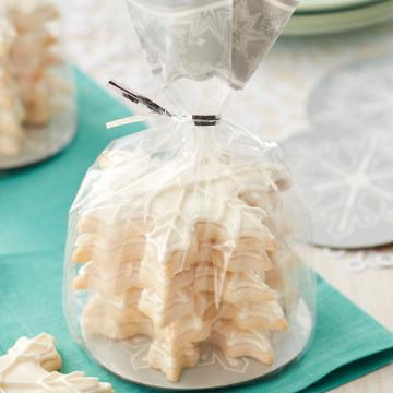 Pack de 8 bolsas + platos Copos de Nieve Plata Navidad Wilton