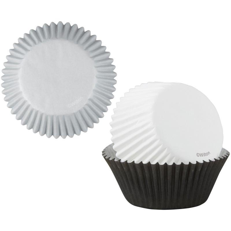 Cápsulas de cupcakes Plata, Negro y Blanco Wilton