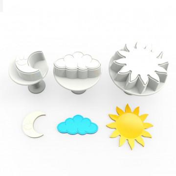Pack de 3 cortantes con expulsor Nube, Luna y Sol