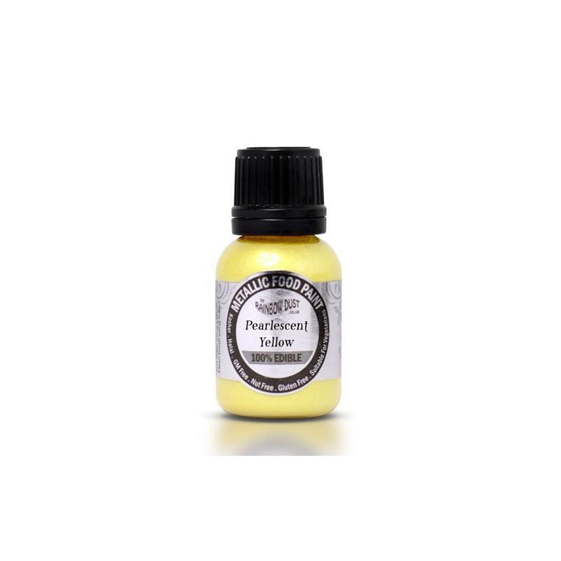 Metallic Food Paint Pearlescent Yellow Rainbow Dust
