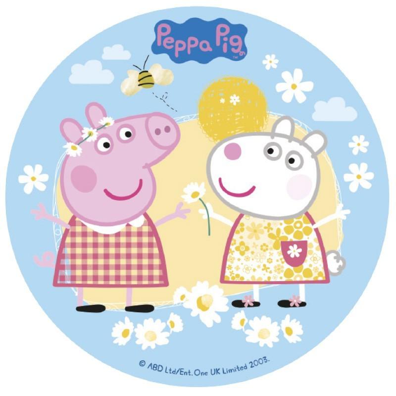 Papel de azúcar 16 cm Flores Peppa Pig