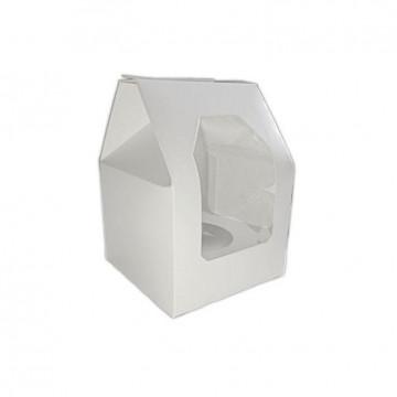 Caja 1 cupcakes blanca con ventana