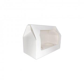 Caja 2 cupcakes blanca con ventana