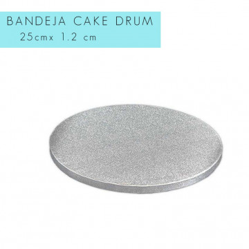 Bandeja de presentación plata 25 x 1.2 cm redonda