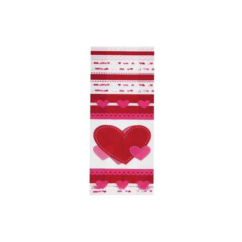 Bolsas para piruletas, galletas 25x10cm Corazón, pack 20 Wilton