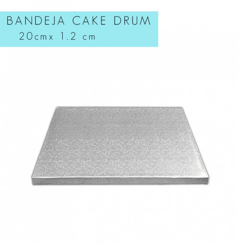 Bandeja de presentación plata 20 x 1.2 cm cuadrado