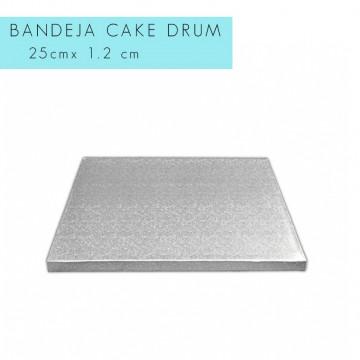 Bandeja de presentación plata 25 x 1.2 cm cuadrada