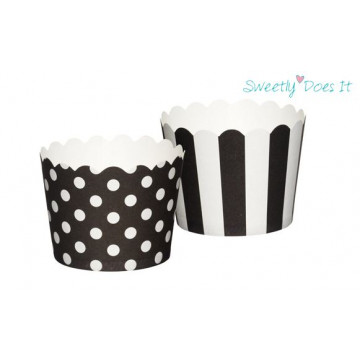 Capsulas cupcakes pequeñas decorativas Lunares y Rayas Negras Sweetly Does It