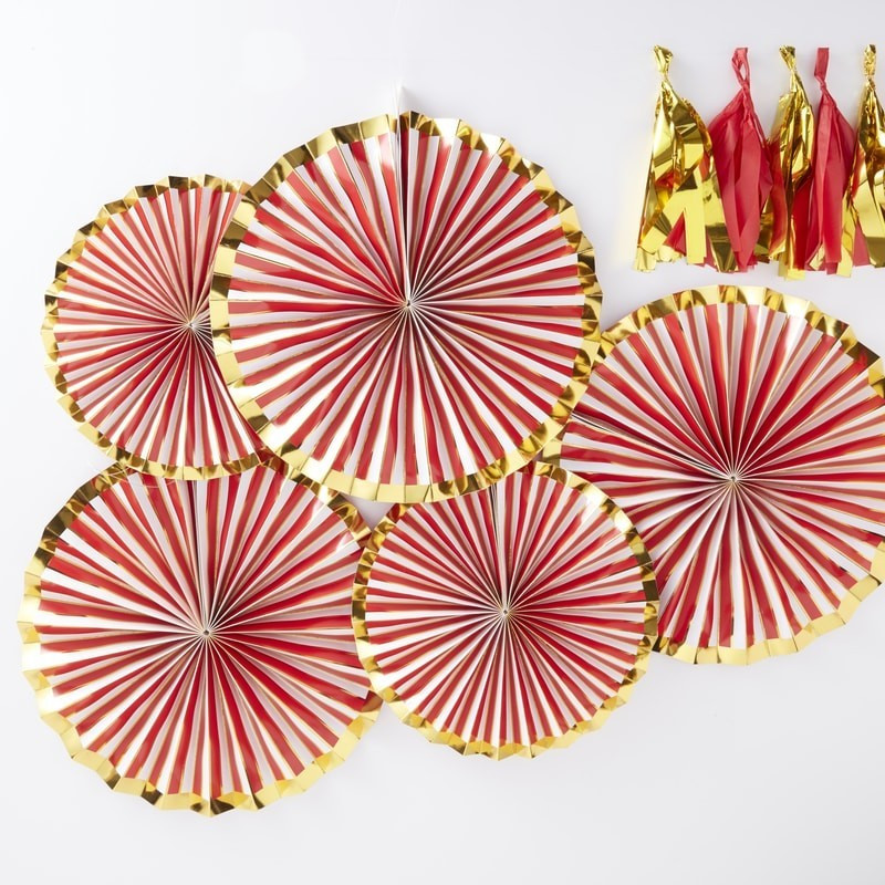Pack de 5 Abanicos en Rojo y Oro