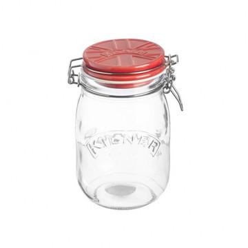 Tarro de cristal hermético 1L con tapa de cerámica Roja Kilner