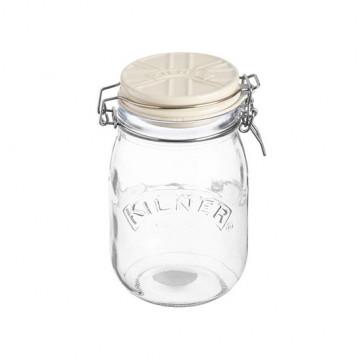 Tarro de cristal hermético 1L con tapa de cerámica Crema Kilner