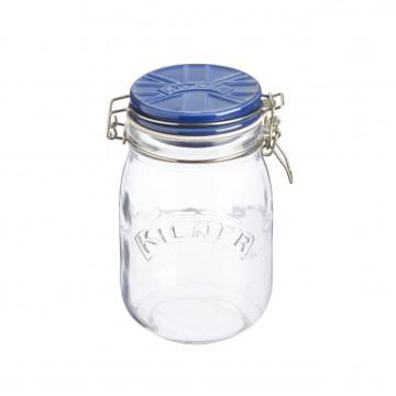 Tarro de cristal hermético 1L con tapa de cerámica Azul Kilner
